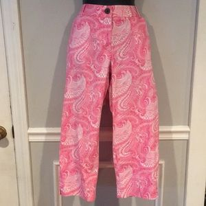 Talbots Pink & white paisley cropped pants